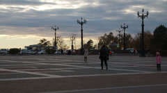 People walk on the square Stock Footage
