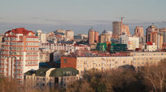 Metropolis. In big city heavy traffic. Panorama of the city of Khabarovsk Stock Footage