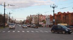 Metropolis. In big city heavy traffic. streets of Khabarovsk Stock Footage
