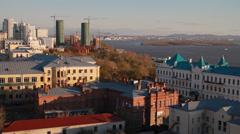 Metropolis. In big city heavy traffic. Khabarovsk Stock Footage