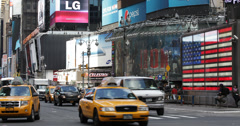 Ultra HD 4K Junction Broadway 7th Ave Times Square Broadway Theater Car Traffic - stock footage