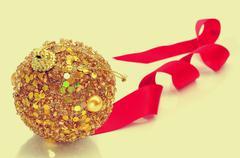 christmas ball and ribbon - stock photo