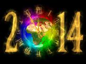 Stock Illustration of happy new year 2014 - pf 2014 - europe, asia and africa