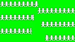ANIMATED PAPER CHAIN PEOPLE Stock Footage