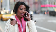 Stock Video Footage of African American black cosmopolitan woman talking on cellphone