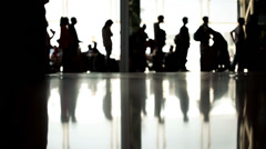 Outline silhouette of people at the airport HD Stock Footage
