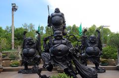 chinese mythology statues in chinese temple - stock photo