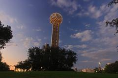 Reunion Tower in the evening - stock photo
