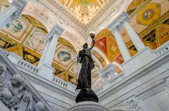 library of congress main hall washington dc - stock photo