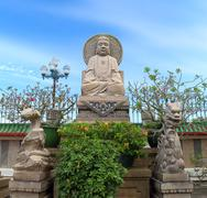 Chinese mythology statues in chinese temple Stock Photos