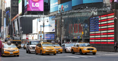 Ultra HD 4K New York City Times Square Driving Car Traffic Passing Yellow Cab Stock Footage