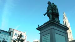 Peter Paul Rubens Statue in Antwerp - stock footage