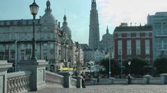 Wide Shot of City of Antwerp, Belgium - stock footage