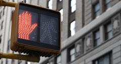 Ultra HD 4K Keep Walking Cross New York City Traffic Sign Building Background  Stock Footage