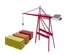 Stock Illustration of three freight container being with a crane
