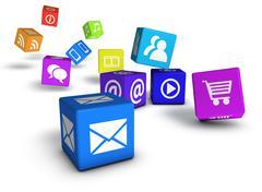 website social media and internet cubes - stock illustration