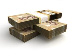 stack of canadian dollar - stock illustration