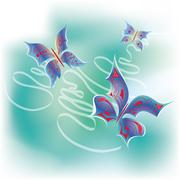 Family of butterfly in ribbon - stock illustration