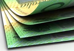 australian dollar closeup - stock illustration