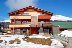 modern luxury hotel at ski resort, high tatras, slovakia - stock photo