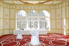 banquet room in the luxury hotel, strbske pleso ski resort, high tatras, slov - stock photo