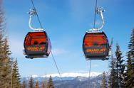 Stock Photo of jasna-march 15: cableway cabins at jasna low tatras. it is the largest ski re