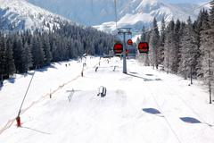 Jasna-march 15: cableway cabins and freeride park at jasna low tatras. it is Stock Photos