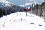 Stock Photo of jasna-march 15: cableway cabins and freeride park at jasna low tatras. it is