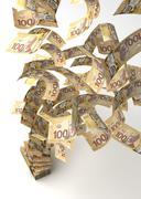 flying canadian dollar - stock illustration