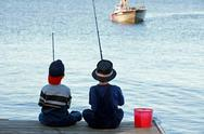 Stock Photo of Boys Fishing