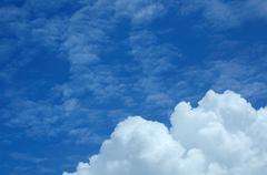 Iso valkoinen pilvi on taivas, aurinko paistaa päivä. Kuvituskuvat