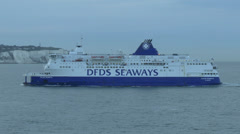 The Calais Seaways ferry arriving at the Port of Dover, UK. Stock Footage