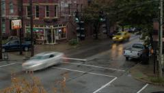 Time Lapse of Rainy Intersection - stock footage
