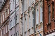 Stock Photo of detail of houses at the market square of lviv