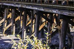 Wooden bridge - stock photo