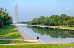 washington monument and reflecting pool, washington dc - stock photo