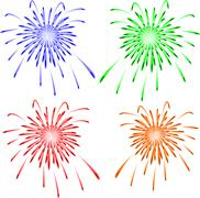 Brightly colorful vector fireworks. Vector - stock illustration