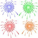 Stock Illustration of Brightly colorful vector fireworks. Vector