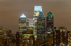 Philadelphia skyline at night Stock Photos