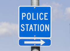 Police station sign Stock Photos