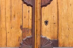 An old wooden and grungy locked door Stock Photos