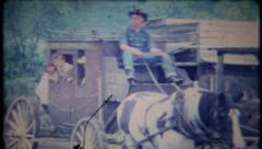 590 - family takes stagecoach ride at the dude ranch - vintage film home movie Stock Footage
