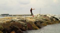 Tai Chi on the sea Stock Footage