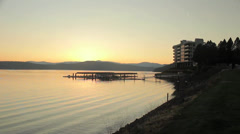 Sunset on Resort Appartments on Lake CDA Stock Footage