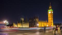 Tourists on Westminster Bridge, London, United Kingdom Stock Footage