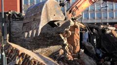 Demolition Grabber Demolition Site Stock Footage