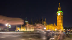 Houses of Parliament and Westminster Bridge, London, United Kingdom - stock footage