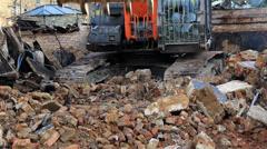 Demolition Grabber on Demolition Site Stock Footage