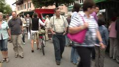 Walk through the marketplace. People shopping in the market. Stock Footage