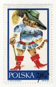 puss in boots on post stamp - stock photo